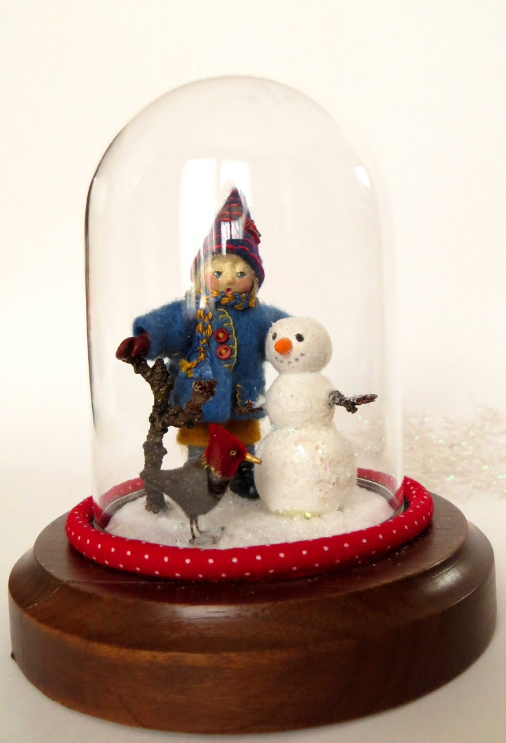 """""""Rolf"""", miniature art doll in display dome with snowman and friendly woodpecker, by Lorraine K. Muenster"""