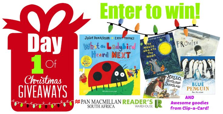 Day 1 of Christmas Giveaways This fun hamper was generously sponsored by Pan Macmillan publishers and contains: Hello, Hugless Douglas by David Melling, The Mouse Who Ate the Moon & Blue Penguin (Signed by the Author) by Petr Horacek, What the Ladybird Heard Next by Julia Donaldson & Lydia Monks, The Promise by Nicola Davies & Laura Carlin (Signed by the Author) AND loads of fun goodies from Clip-a-Card. Enter here: https://gleam.io/PIejQ/day-1-of-christmas-giveaways