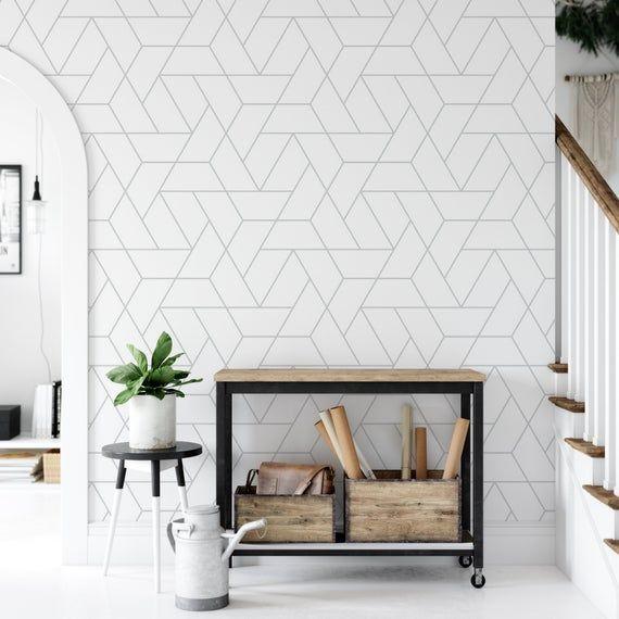 Simple Geometric Grid Style Temporary Removable Wallpaper Etsy In 2021 Temporary Wallpaper Removable Wallpaper Geometric Wallpaper