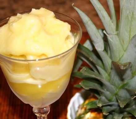 Pineapple Agave Sorbet | Low Fat | Fat Free | Vitamix | Healthy Ice Cream | Healthy Dessert | A Healthy Kitchen dot com