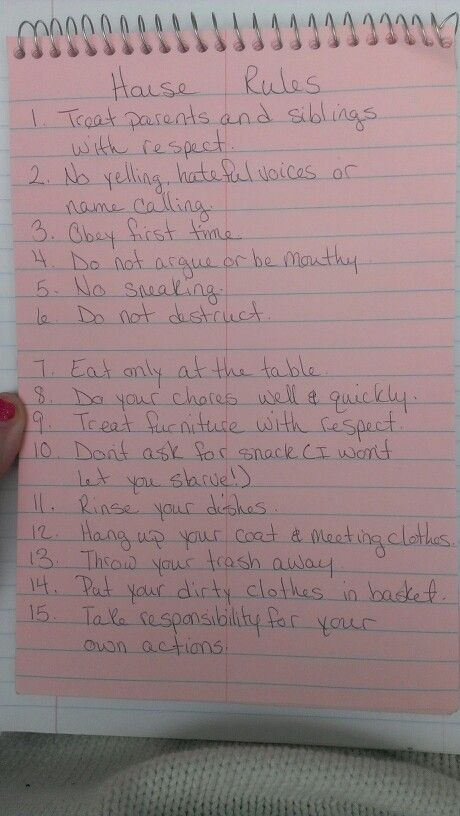 House rules for my 8-13 year olds or for older children. Rules for a big family
