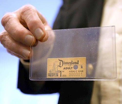 The first Disneyland admission ticket ever sold. It was purchased by Roy O. Disney, Walt Disney's older brother, for $1 in 1955