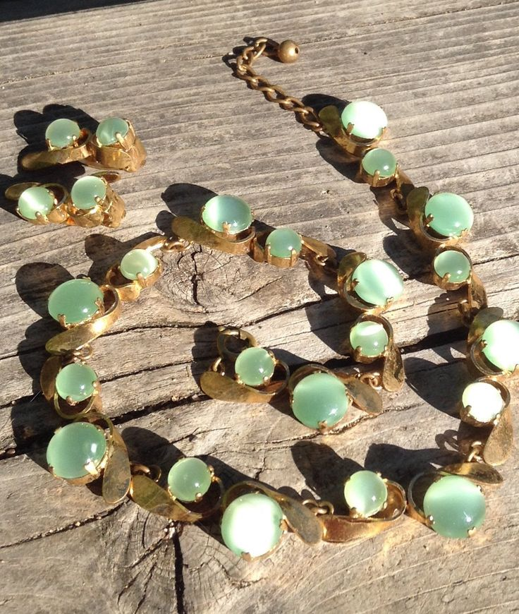 Vintage Necklace, Clip On Earrings,Green Glass, Moon Glow Jewelry , Green Necklace by TheForestSleeps on Etsy