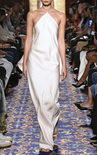 Pebble Jacquard and Gazaar Halter Gown by Brandon Maxwell