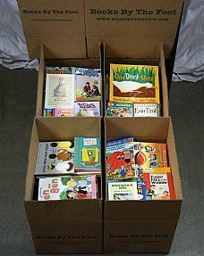Boxed Children's Books - Books by the Foot $12.99 for 150 books toddler-young adult. Even with shipping, it works out to be 17 cents a book!  Age group books by the foot for $30/box