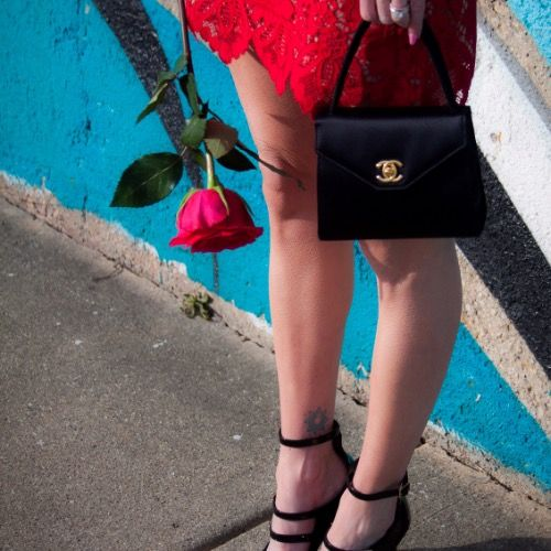 4cd9c5777e47 Check out the vintage Chanel paired with Strappy heels and a lacy red dress   perfectcombo
