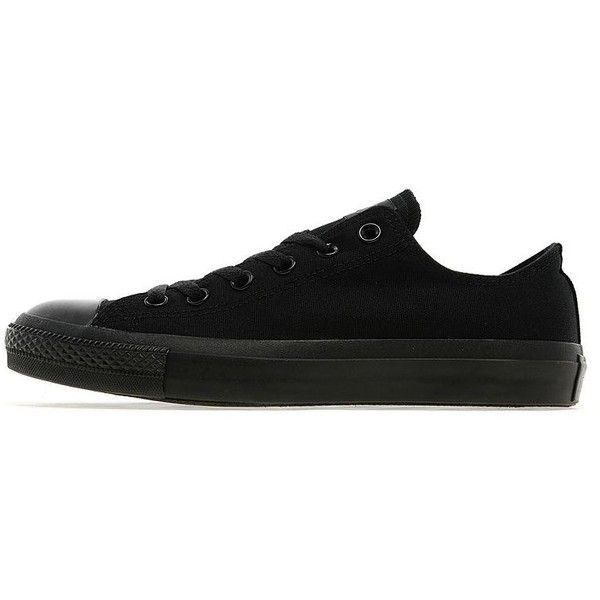 Converse All Star Ox Mono Women's ($65) ❤ liked on Polyvore featuring shoes, sneakers, black, converse oxford, black trainers, flat shoes, black flat shoes and converse shoes