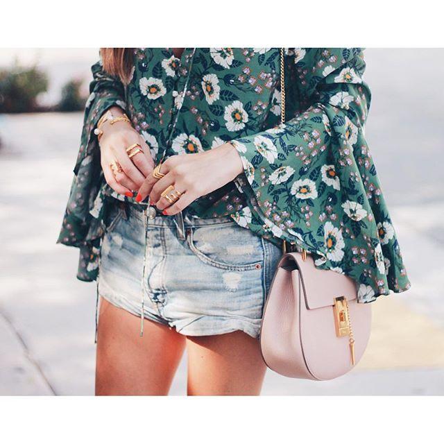 Chloe bag / flower print / denim shorts