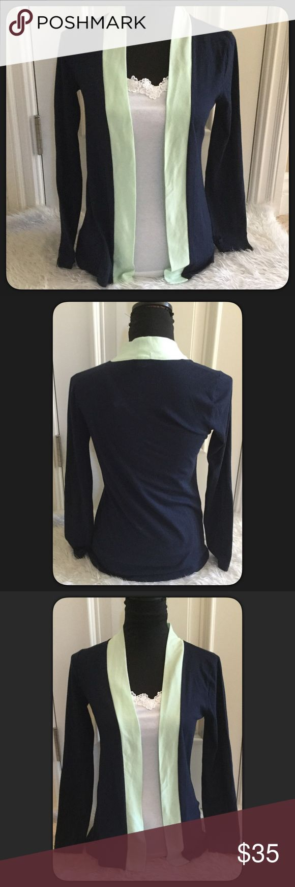"""🆕J. Crew Nautical Cardigan Pretty Navy and Mint Green trim cardigan by J Crew. Size XS. Lightweight great for Spring & Summer. EUC. Worn once it's a little small for me . Length approximately 27"""" Long. Material 60% cotton 40% Polyester J. Crew Sweaters Cardigans"""