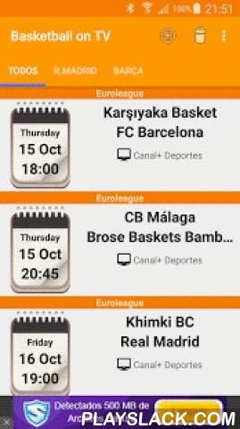 Basketball On TV  Android App - playslack.com , With this great app you'll have an updated list of all next basketball matches events of the spanish clubs in the main leagues: Liga Endesa, Euroleague, Eurocup, King's Cup, Eurobasket as well as friendly and preseason matches.It will provide accurate information of the time and TV channels where the match will be broadcasted.Furthermore, with just one click you could add new events with reminders to the calendar of your smartphone. Don't miss…