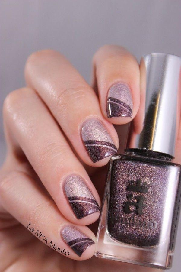 Mauve nails with a subtle glitter