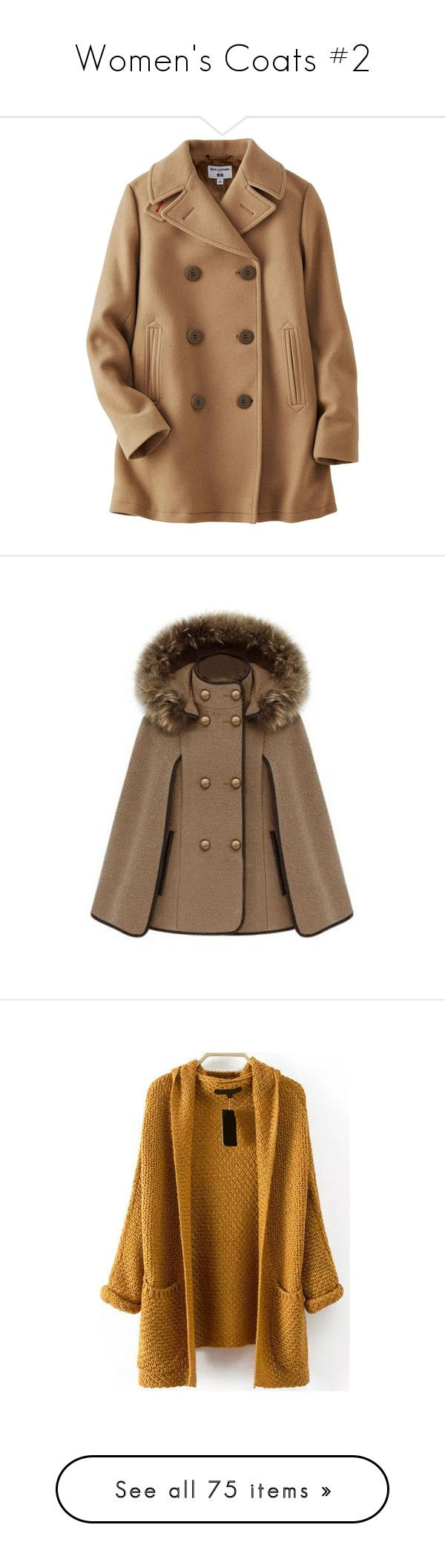 """""""Women's Coats #2"""" by nathalialopes-1 ❤ liked on Polyvore featuring outerwear, coats, jackets, coats & jackets, casacos, beige, pea jacket, uniqlo coats, beige coat and brown peacoat"""