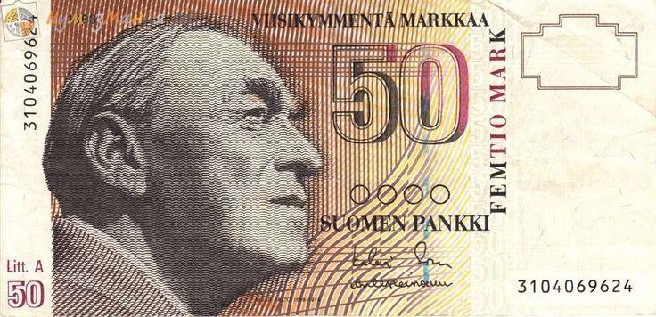 """Купить Банкнота Финляндия 1986 год 50 марок """"Портрет финского архитектора и дизайнера Алвара Хуго Хенрика Аалто. Концертный зал «Финляндия» в Хельсинки"""", Финляндия"""