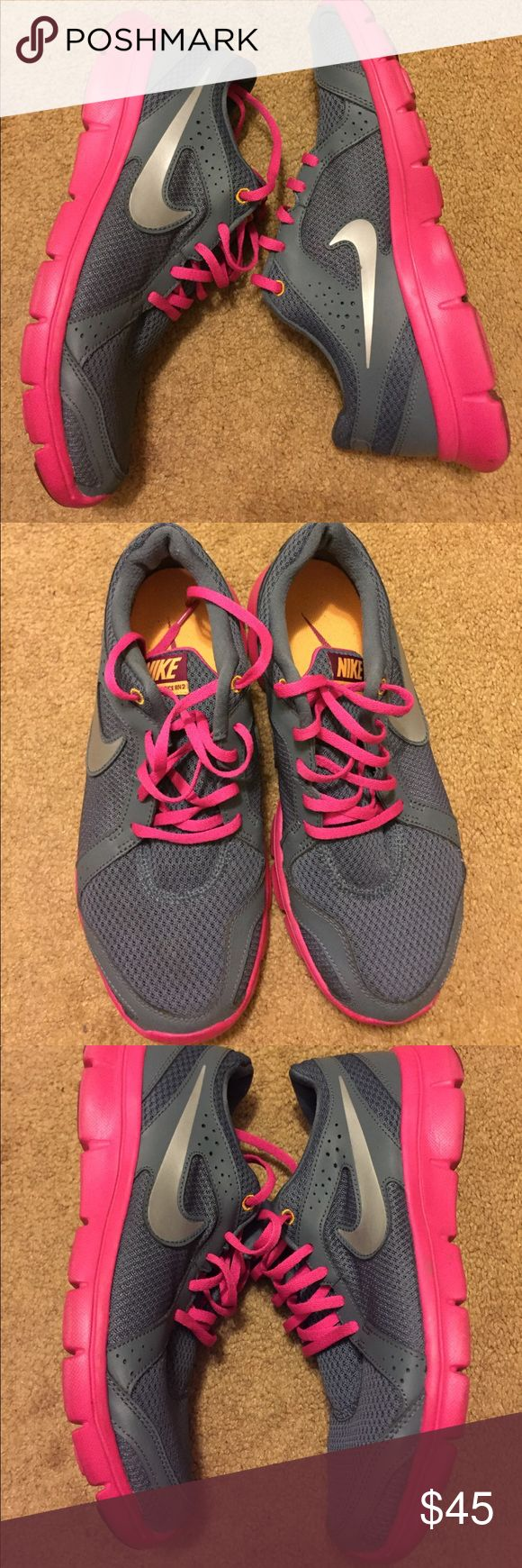 Fushia and Pink Nike Flex Experience RN2 sneakers Fushia and Pink Nike Flex Experience RN2 running sneakers. Worn once. clean and in excellent condition Nike Shoes Sneakers