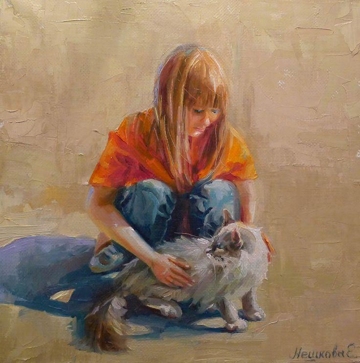 """Екатерина Нешкова, Ekaterina Neshkova Art,  картина, """"Удивительное рядом, 35х35см, девочка, кот, кошка,"""