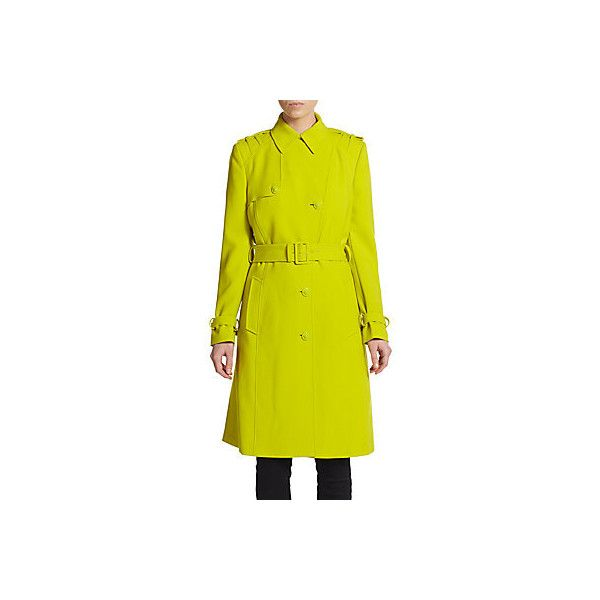 Versace Medusa Button Trenchcoat ($794) ❤ liked on Polyvore featuring outerwear, coats, lime, long sleeve coat, yellow coat, trench coat, yellow trench coat and versace coat