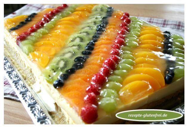 Obstkuchen mit Puddingfüllung auf dem Blech! www.rezepte-glutenfrei.de