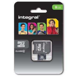 INTEGRAL Karta pamięci 8 GB microSDHC Class 4 + adapter Karta pamięci microSDHC marki Integral, klasy 4 o pojemności 8 GB. Idealna do zastosowania w urządzeniach mobilnych do przechowywania muzyki, zdjęć, filmów, aplikacji i gier