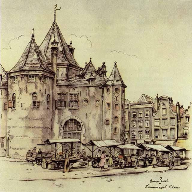 Anton Pieck. Nieuwmarket Amsterdam
