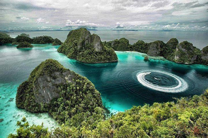 A stunning aerial view of Raja Ampat in Indonesia.