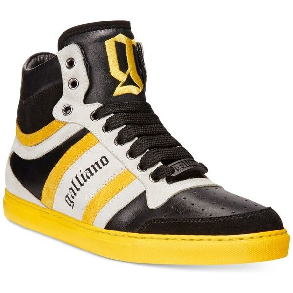 John Galliano Vernic High-Top Sneakers (745 BRL) ❤ liked on Polyvore featuring men's fashion, men's shoes, men's sneakers, mens high top sneakers, mens black leather high top sneakers, mens high top shoes, mens leather shoes and mens leather sneakers