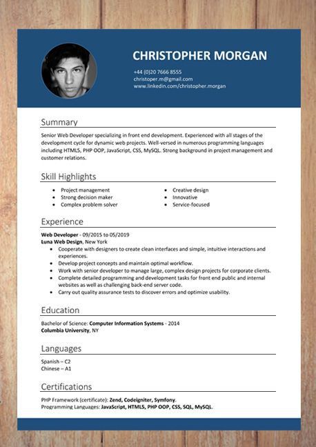 Professional Downloadable Word Document Resume Templates In 2020