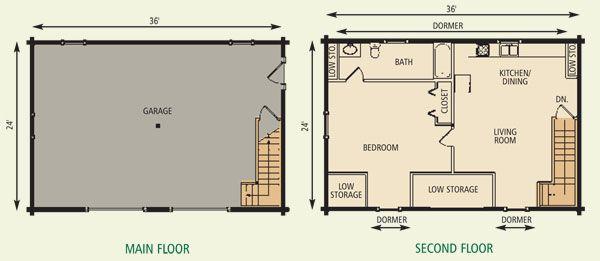 24x36 Garage Cottage Ii Log Home Floor Plan Floor Plans Log Home Floor Plans House Floor Plans