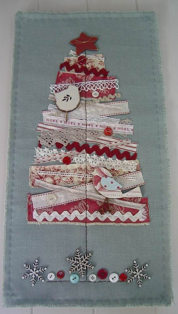 scrap fabric wall hanging - christmas tree applique using scraps of fabric and ribbon on plain fabric