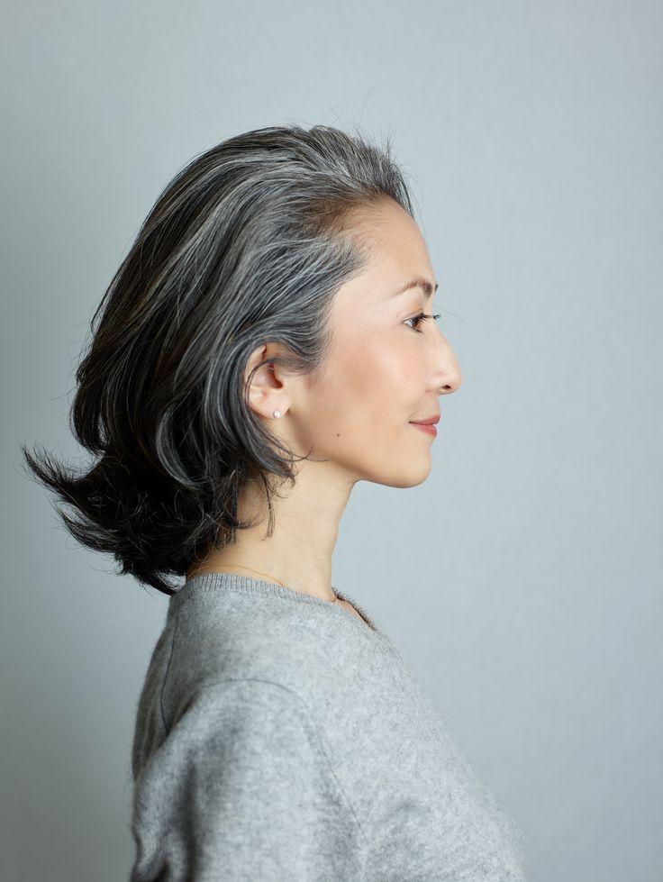 Mayuko Miyahara Gray hair style #Over50 #grey