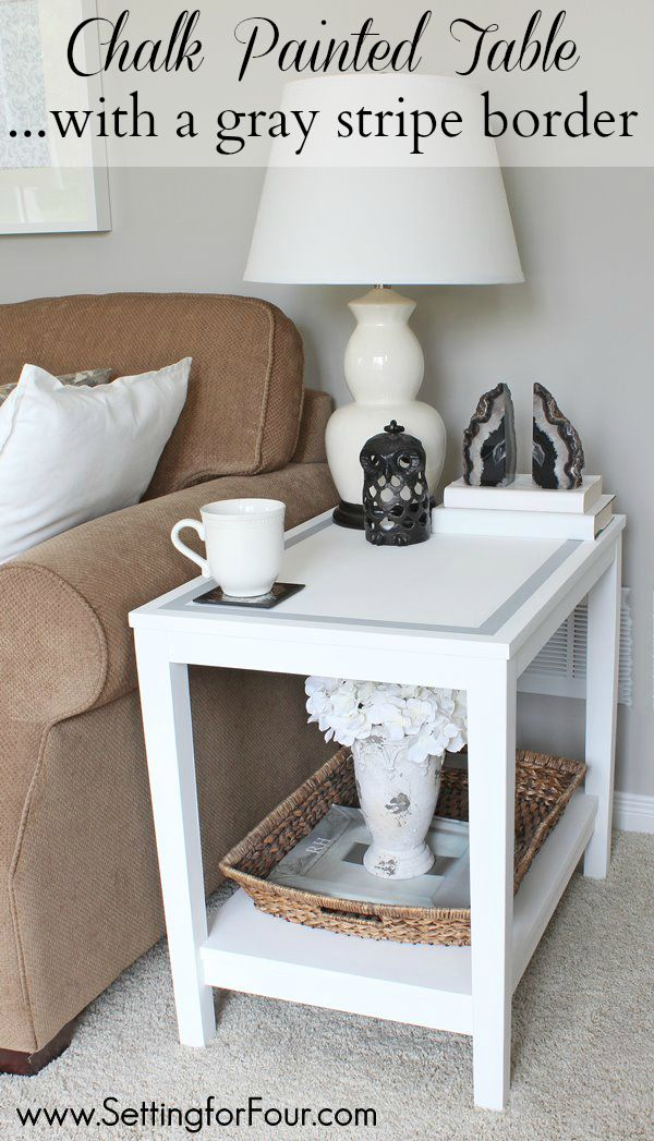 Update your decor easily! DIY Chalk Paint Table with a gray strip border - see how I gave this dreary, damaged fake-wood table a makeover!