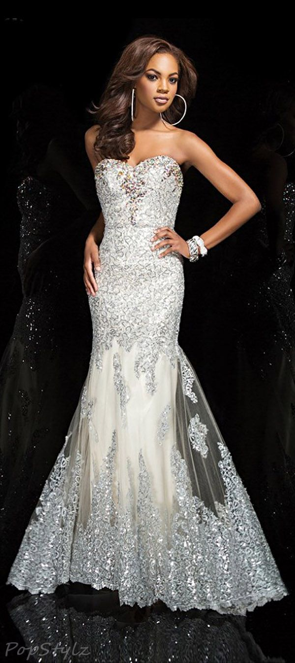 Tony Bowls TBE11447 Elegant Champagne Strapless Evening Gown
