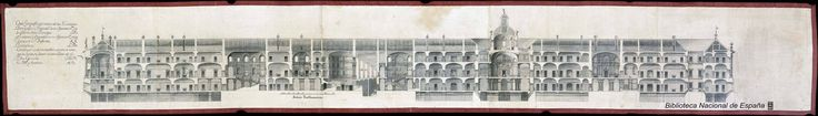longitudinal section through the Court Theatre and the library in the draft 1735 Juvarra