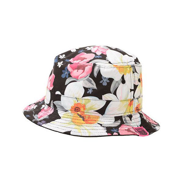 Married To the Mob Tropical Fantasy Floral Bucket Hat (849.415 VND) ❤ liked on Polyvore featuring accessories, hats, floral hat, wide brim hat, floral print hat, fishing hat and married to the mob