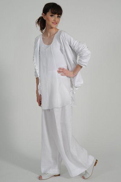 Yoshi linen pant, Mizu tunic, Cos cotton knit ruffle cardy, Primo leather shoe