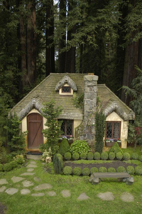 Cottage Style Playhouse With Steam Bent Wooden Shingles