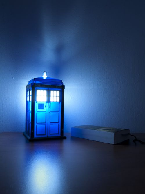 "TARDIS Nightlight ""mama that's from dr who!!! That's his tardis to fly"