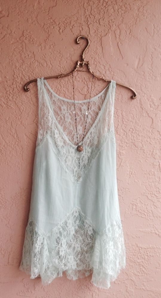 Image of Free People Rare Mint Green lace inset cotton tunic