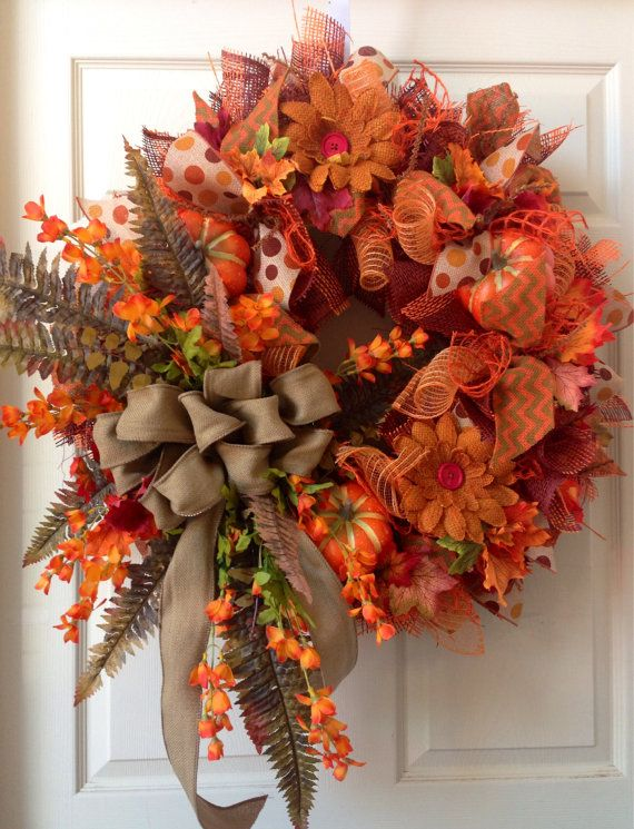 Fall Wreath Mesh Wreath Autumn Wreath Burlap by WilliamsFloral