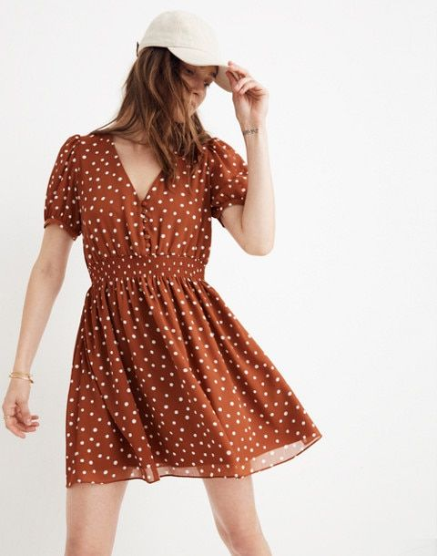 685735a94fd Smocked-Waist Mini Dress in Inkspot Dots in painted dots burnt clay image 2