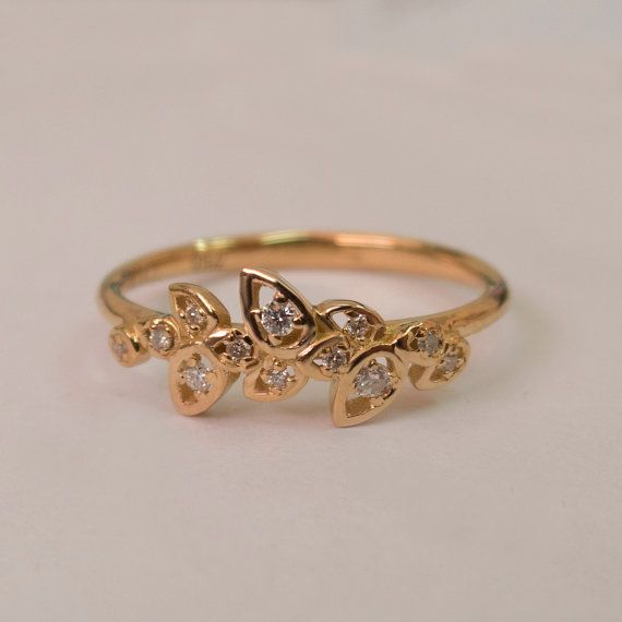 Leaves Engagement Ring 14K Rose Gold and Diamond by doronmerav