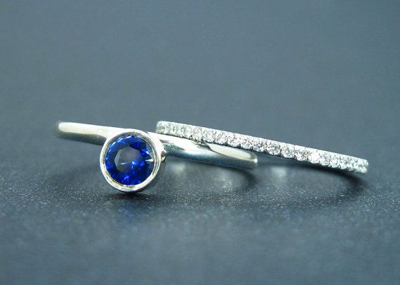 Sapphire Ring With Diamond Eternity Band Wedding by BenatiBridal