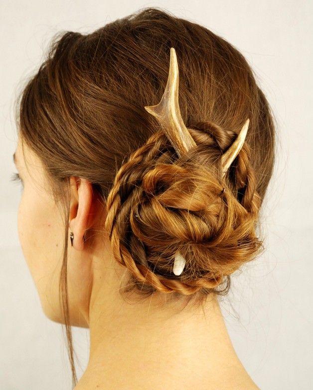 Deer hair stick, antler accessory pin bone horn