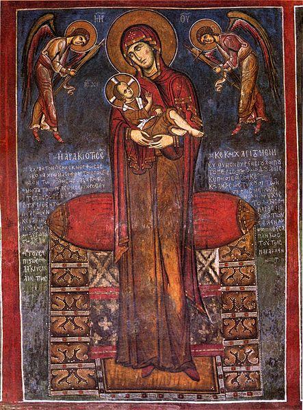 Virgin Mary (Panayia Arakiotissa). Fresco. AD 1192. Panayia tou Arakou church, Lagoudera, Cyprus