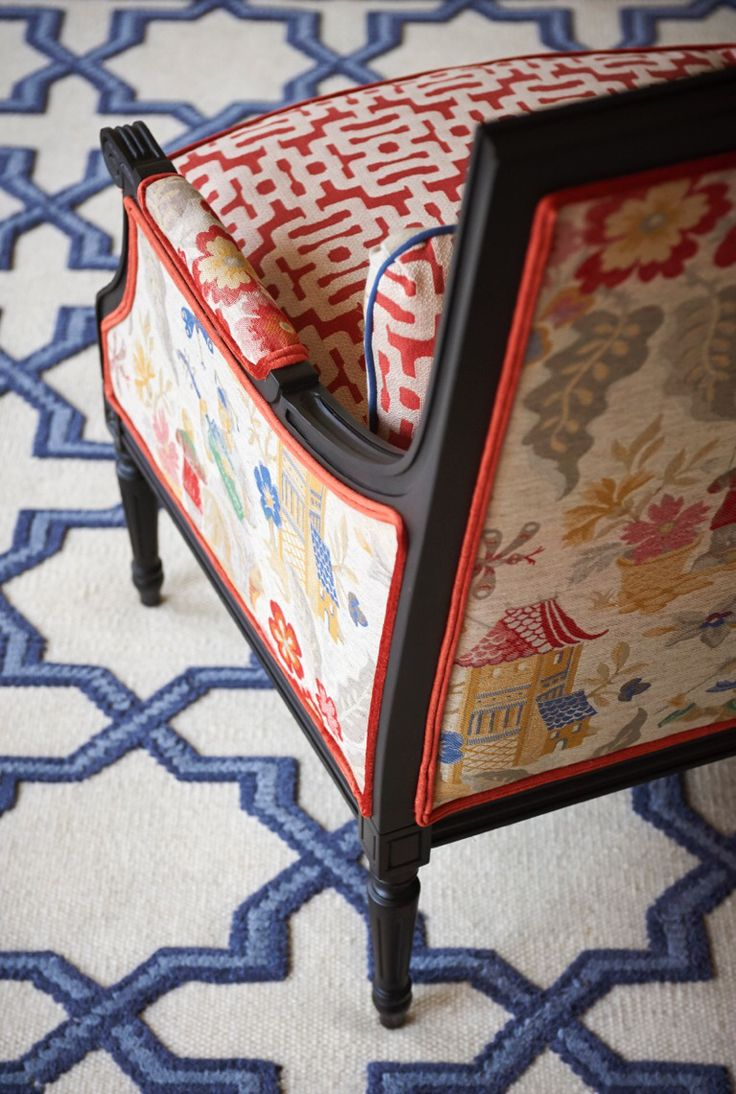 Red, White, And Blue Chinoiserie (Chinoiserie Chic). Fabric ChairsUpholstery  ...