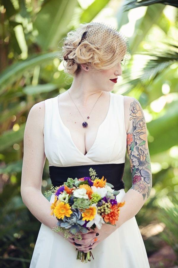 pretty tattooed bride