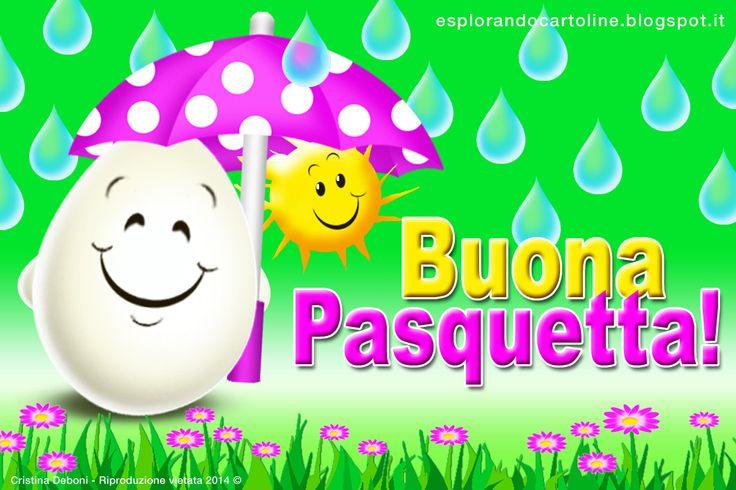 Cartolina auguri di Buona Pasquetta anche con la pioggia! Da scaricare gratis!