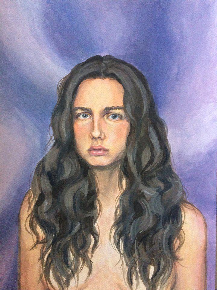 Acrylic self-portrait by Karoliina Pärnänen (2016).