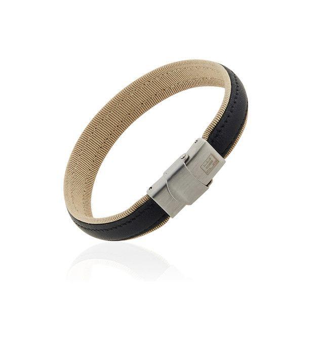 Bracelet homme acier, cuir et textile