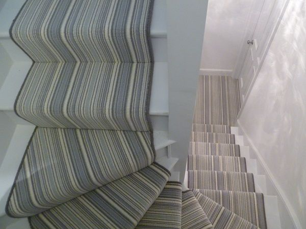 striped grey stairs carpet runner - turn in stairs