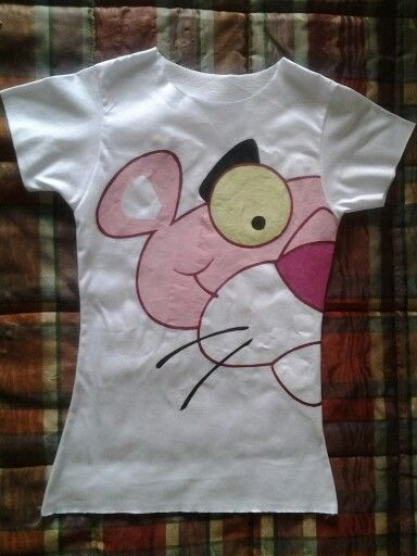 "Camisetas pintadas a mano "" Pink Panter """